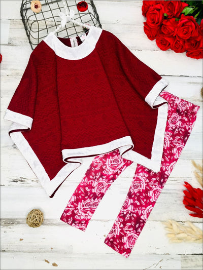 Girls Burgundy Cable Knit Velvet Poncho & Rose Print Leggings Set - Burgundy / 2T/3T - Girls Fall Casual Set