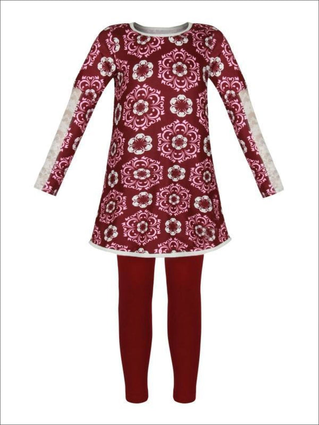 Girls Burgundy & Creme Medallion Print Long Lace Patch Sleeve Tunic & Matching Leggings Set - Girls Fall Casual Set