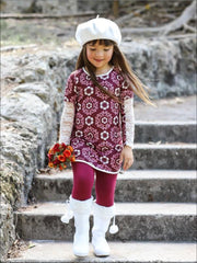 Girls Burgundy & Creme Medallion Print Long Lace Patch Sleeve Tunic & Matching Leggings Set - Burgundy / 2T/3T - Girls Fall Casual Set