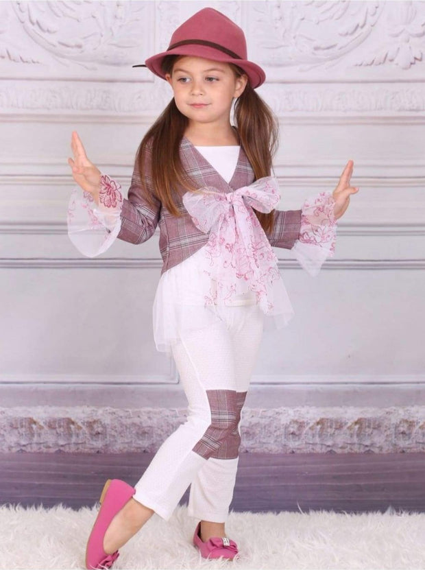 Girls Burgundy & Creme Ruffle Jacket Set with Pencil Patch Pants - Fall Low Stock