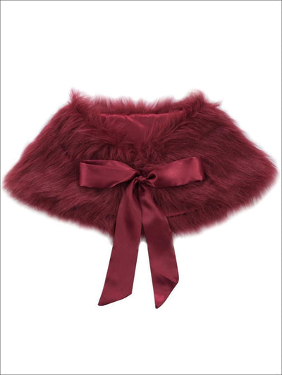 Girls Burgundy Faux Fur Princess Cloak/Bolero - Girls Halloween Costume