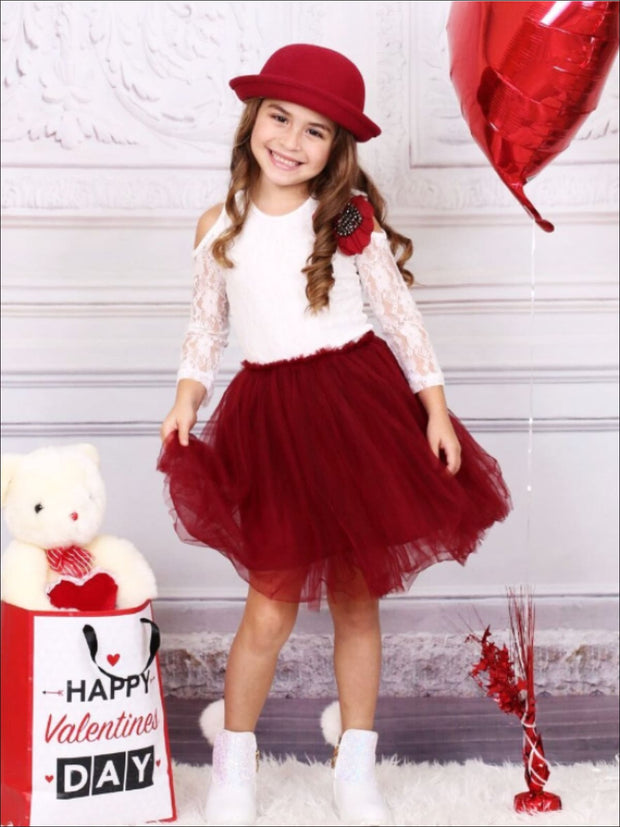 Girls Burgundy & Ivory Cold Shoulder Tutu Top & Tutu Skirt Set - Girls Fall Dressy Set