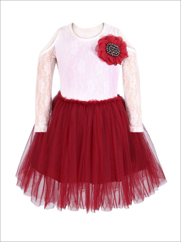 Girls Burgundy & Ivory Cold Shoulder Tutu Top & Tutu Skirt Set - 3T / Ivory/Burgundy - Girls Fall Dressy Set