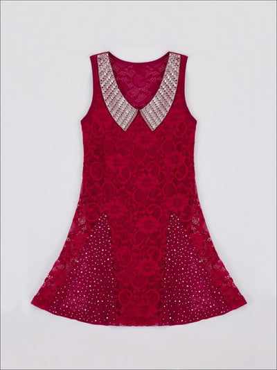 Girls Burgundy Lace Dress with Ruffle Inserts & Beaded Collar - Girls Sequin Dress