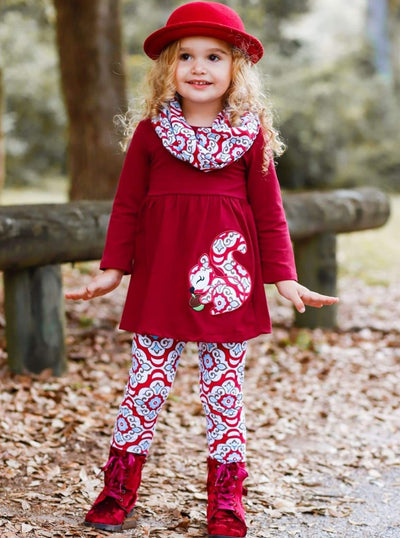 Girls Burgundy Long Sleeve Squirrel Applique Tunic Medallion Print Leggings & Scarf Set - Girls Fall Casual Set