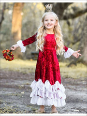 Girls Burgundy Velvet Princess Maxi Holiday Dress with Ruffled Waves - Girls Fall Dressy Dress