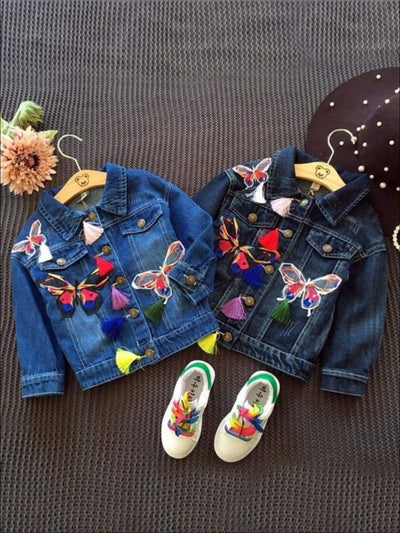 Girls Butterfly Applique Denim Jacket (Dark Blue & Light Blue Denim Options) - Girls Jacket