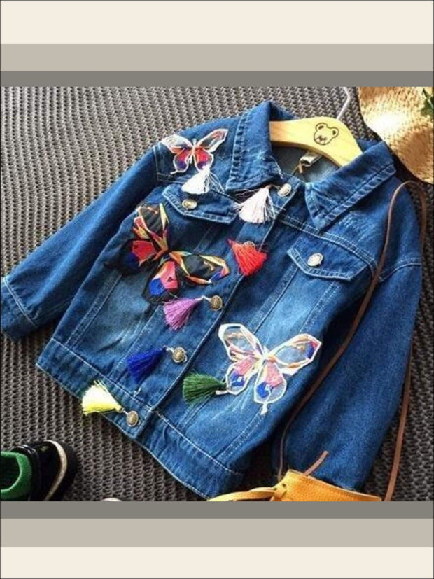 Girls Butterfly Applique Denim Jacket (Dark Blue & Light Blue Denim Options) - denim blue / 2T - Girls Jacket