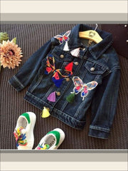 Girls Butterfly Applique Denim Jacket (Dark Blue & Light Blue Denim Options) - dark blue / 2T - Girls Jacket