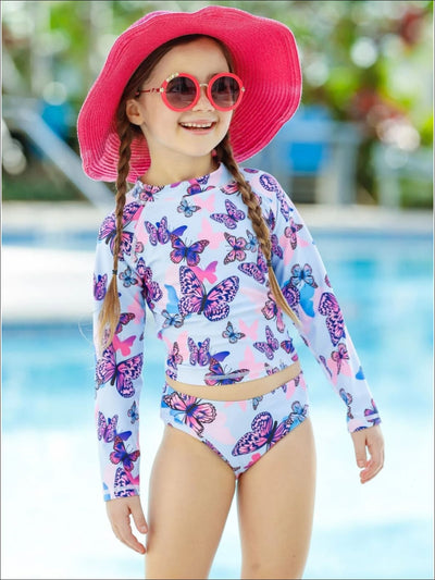 Girls Butterfly Back Tie Rash Guard Two Piece Swimsuit - Girls Two Piece Swimsuit