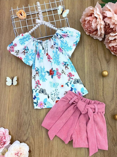 Girls Butterfly Floral Tunic and Belted Shorts Set - Multicolor / 2T - Girls Spring Casual Set