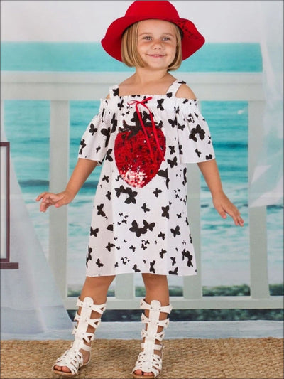 Girls Butterfly Print Off the Shoulder Dress with Sequin Strawberry Applique - Girls Spring Casual Dress