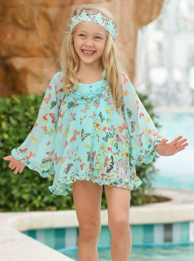 Girls Butterfly Print Skirted Ruffled Side Cut-Out One Piece Swimsuit with Matching Cover Up - Girls One Piece Swimsuit