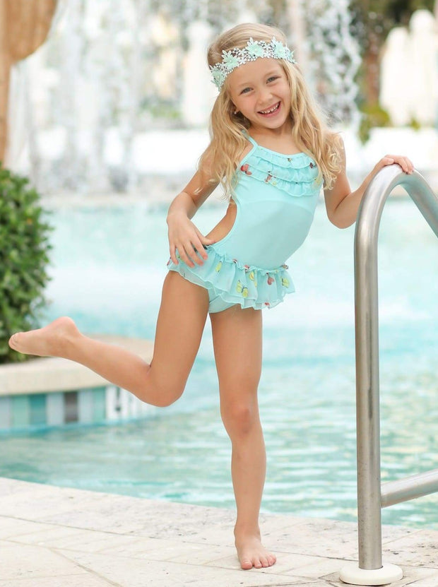 Girls Butterfly Print Skirted Ruffled Side Cut-Out One Piece Swimsuit with Matching Cover Up - Mint / 5Y/6Y - Girls One Piece Swimsuit