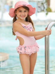Girls Butterfly Print Skirted Ruffled Side Cut-Out One Piece Swimsuit with Matching Cover Up - Pink / 5Y/6Y - Girls One Piece Swimsuit
