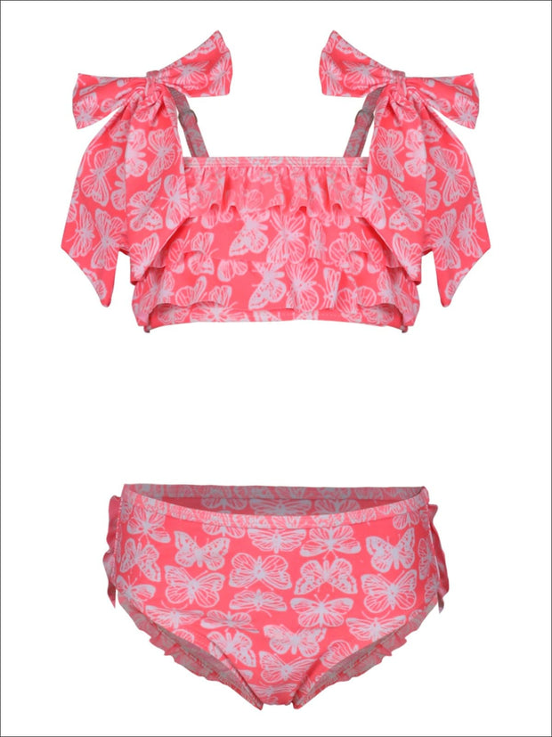 Girls Butterfly Print Tiered Ruffled Bikini Swimsuit with Bow Detail - Girls Two Piece Swimsuit