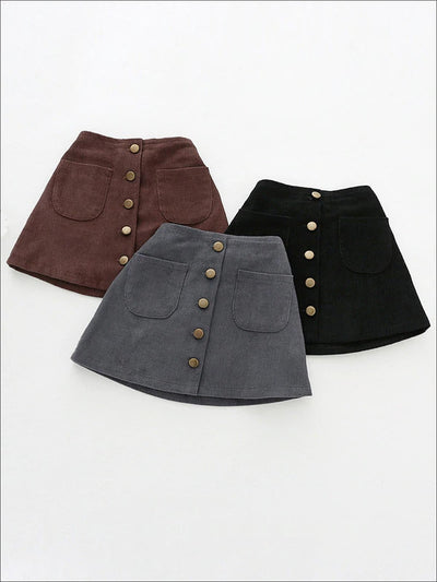 Girls Buttoned Corduroy A-Line Skirt - Girls Skirt