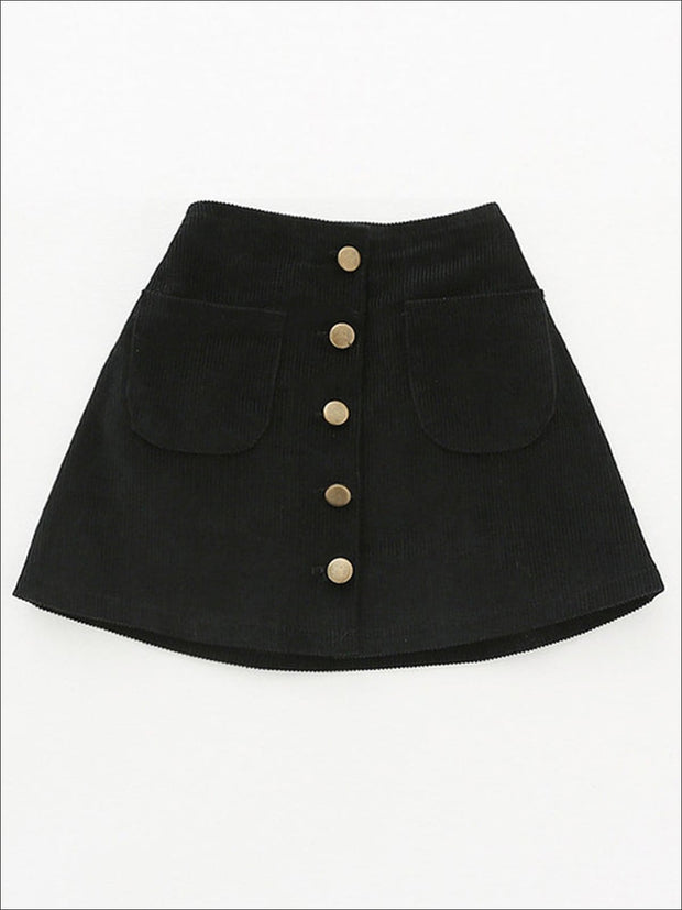 Girls Buttoned Corduroy A-Line Skirt - Black / 2T - Girls Skirt