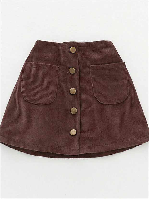 Girls Buttoned Corduroy A-Line Skirt - Brown / 2T - Girls Skirt