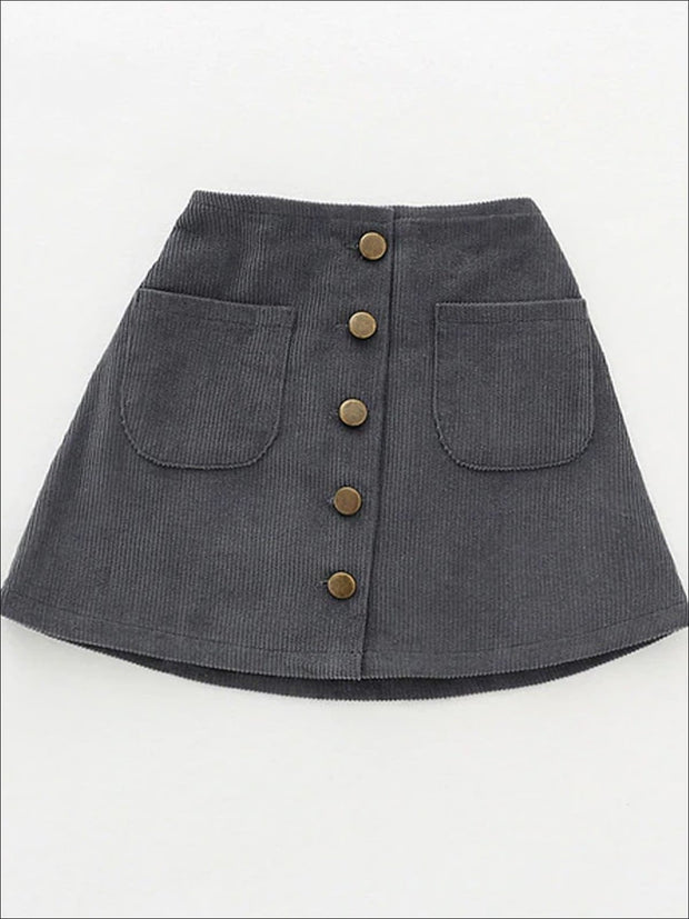 Girls Buttoned Corduroy A-Line Skirt - Gray / 2T - Girls Skirt
