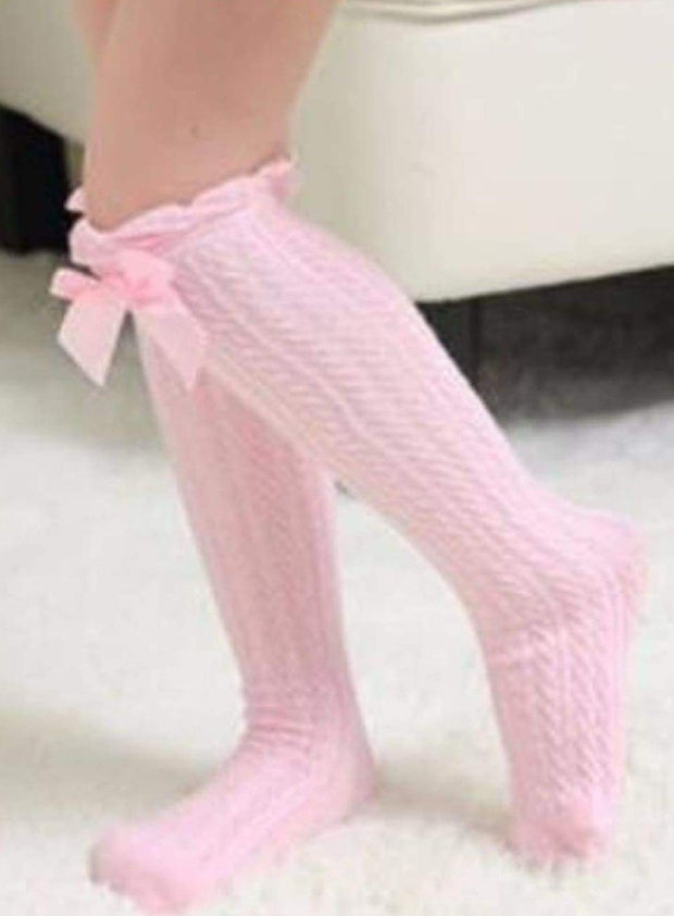 Girls Cable Knit Knee Socks with Bow (6 color options) - Girls Knee Socks