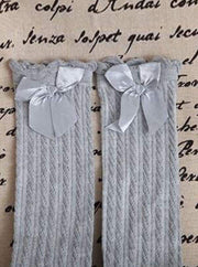 Girls Cable Knit Knee Socks with Bow (6 color options) - Grey / 2 to 13 years old - Girls Knee Socks