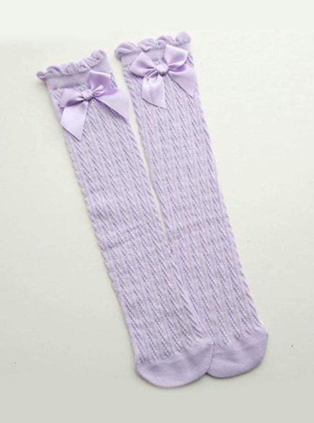 Girls Cable Knit Knee Socks with Bow (6 color options) - Lilac / 2 to 13 years old - Girls Knee Socks