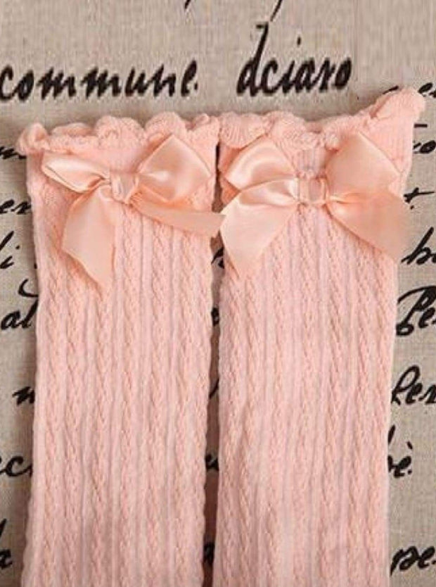Girls Cable Knit Knee Socks with Bow (6 color options) - Peach / 2 to 13 years old - Girls Knee Socks