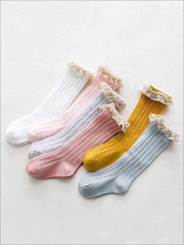 Girls Cable Knit Lace Trimmed Knee Socks - Girls Accessories