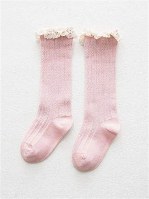 Girls Cable Knit Lace Trimmed Knee Socks - duck pink / S 1 to 3T - Girls Accessories