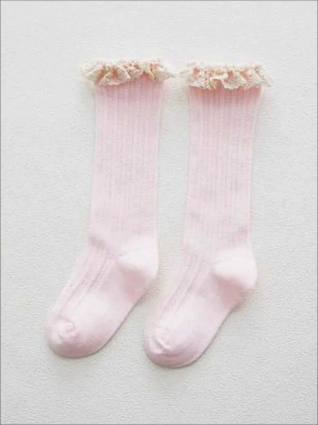Girls Cable Knit Lace Trimmed Knee Socks - light pink / S 1 to 3T - Girls Accessories