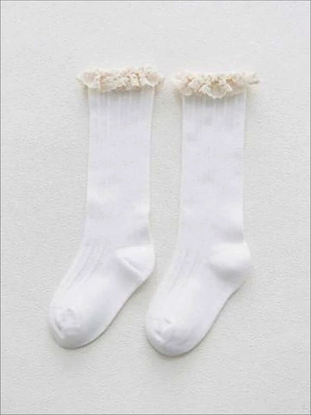 Girls Cable Knit Lace Trimmed Knee Socks - White / S 1 to 3T - Girls Accessories