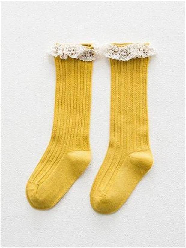 Girls Cable Knit Lace Trimmed Knee Socks - Yellow / S 1 to 3T - Girls Accessories