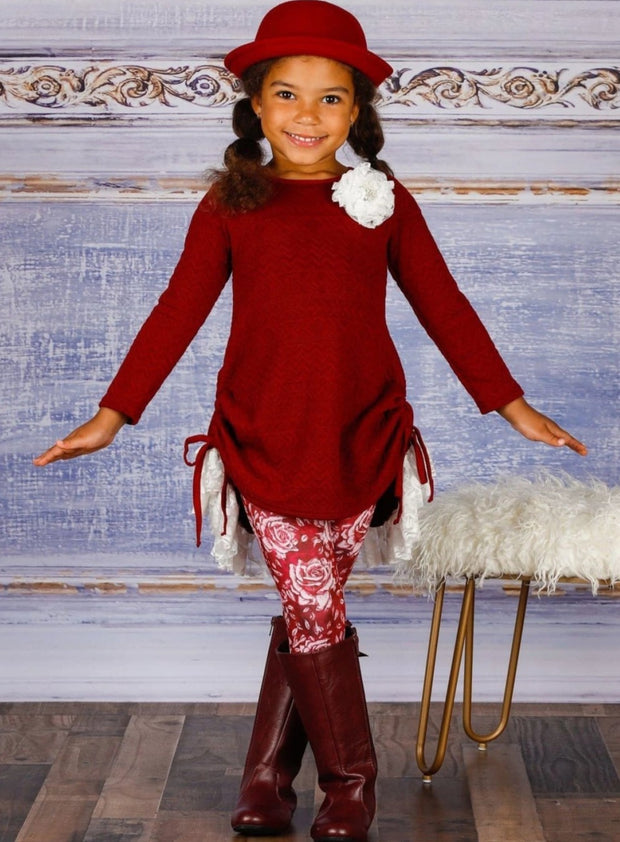 Girls Cable Knit Long Sleeve Hi-Lo Drawstring Lace Tunic & Floral Leggings Set - Girls Fall Casual Set