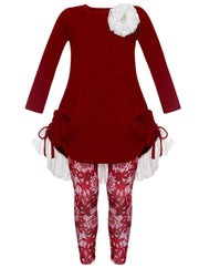 Girls Cable Knit Long Sleeve Hi-Lo Drawstring Lace Tunic & Floral Leggings Set - Burgundy / 2T/3T - Girls Fall Casual Set