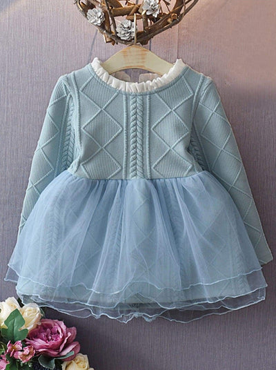 Girls Cable Knit Sweater Tutu Dress - Girls Fall Casual Dress