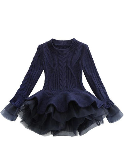 Girls Cable Knit Tulle Peplum Sweater - Navy / 2T - Girls Sweater