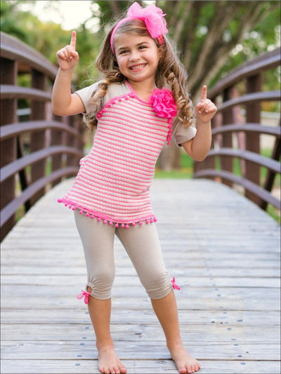 Girls Camel & Hot Pink Striped Raglan Sleeve Pom Pom Tunic & Side Tie Capri Legging Set - Girls Spring Casual Set