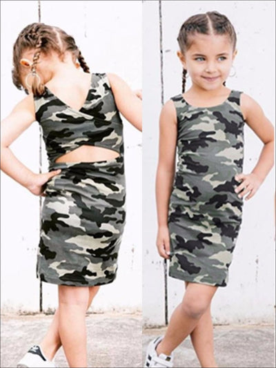 Girls Camo Print T-Shirt Dress with Criss Cross Back - Girls Spring Casual Dress