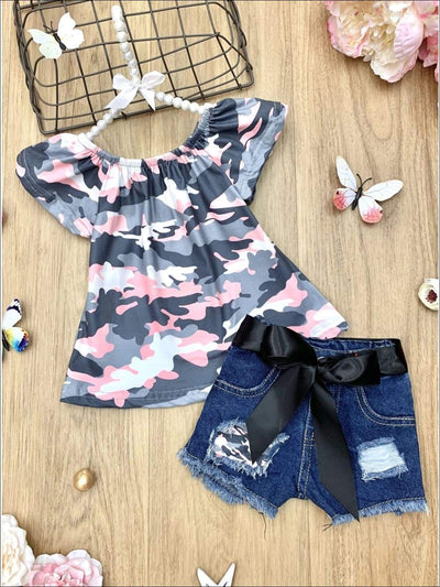 Girls Camouflauge Top and Sashed Patched Denim Shorts Set - Grey / 2T - Girls Spring Casual Set