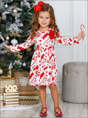 Girls Candy Cane A-Line Long Sleeve Holiday Dress - Girls Christmas Dress