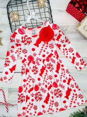 Girls Candy Cane A-Line Long Sleeve Holiday Dress - Red / 2T/3T - Girls Christmas Dress
