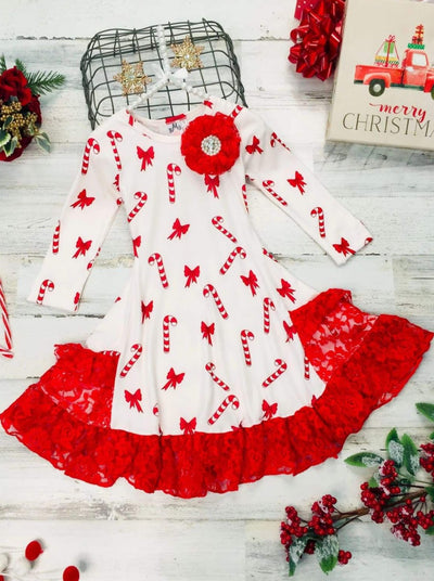 Girls Candy Cane and Bow Print Long Sleeve Lace Insert Pocket Ruffled Dress - Creme / 2T/3T - Girls Christmas Dress