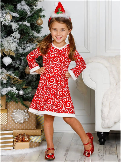 Girls Candy Cane Long Sleeve A-Line Twiggy Dress - Girls Christmas Dress