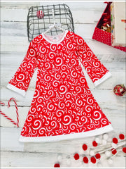 Girls Candy Cane Long Sleeve A-Line Twiggy Dress - Red / 2T/3T - Girls Christmas Dress