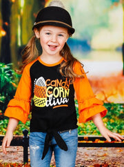 Girls Candy Corn Diva Long Ruffled Raglan Sleeve Knot Top - Girls Halloween Top