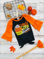 Girls Candy Corn Diva Long Ruffled Raglan Sleeve Knot Top - Orange / 2T - Girls Halloween Top