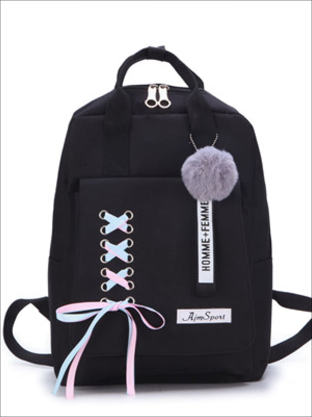 Girls Canvas 16 4 Piece Lace Up Ribbon Backpack Set - Girls Backpack