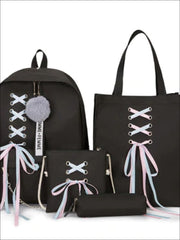 Girls Canvas 16 4 Piece Lace Up Ribbon Backpack Set - Black Set / 16 inch - Girls Backpack