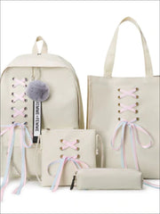 Girls Canvas 16 4 Piece Lace Up Ribbon Backpack Set - Creme Set / 16 inch - Girls Backpack